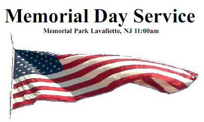Memorial Day Service 11am Memorial Park, Bay Blvd & Brooklyn Ave